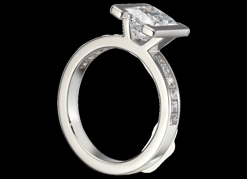 Bague Héra - Or blanc diamants pricesse 1,66 carat pavage princesses diamant