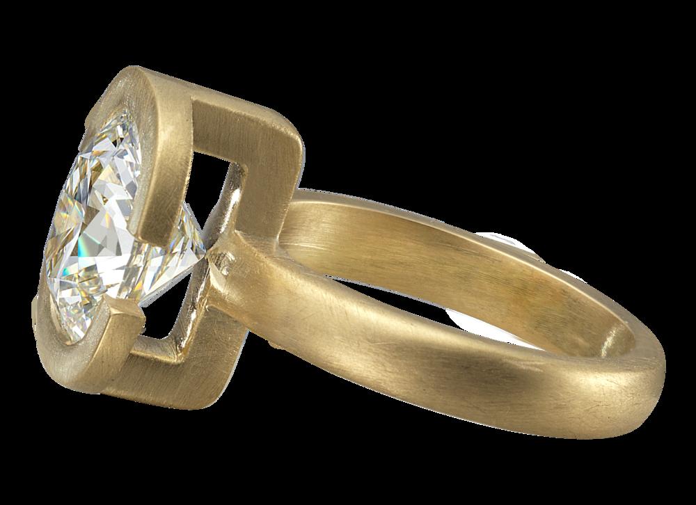 Bague Hestia - O jaune brossé et diamant coussin 4,01 carats