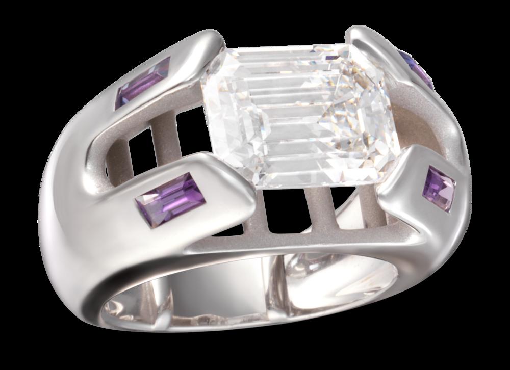 Bague Erica or blanc diamant taille émeraude 3,62 carats & améthystes.png