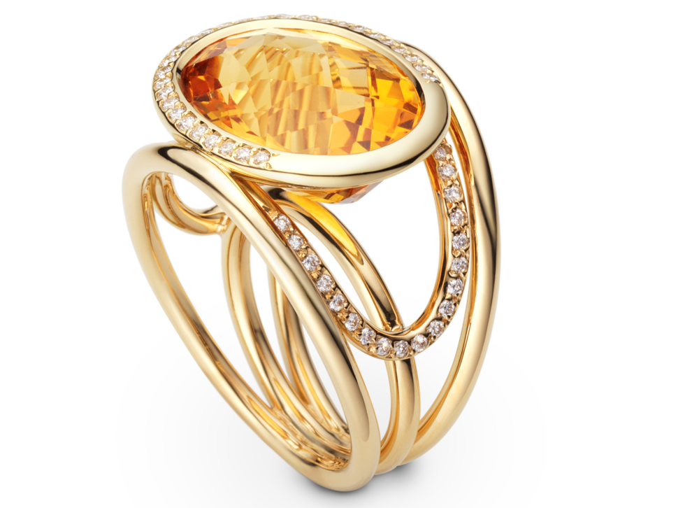 Bague Navona - Or jaune, Citrine et diamants