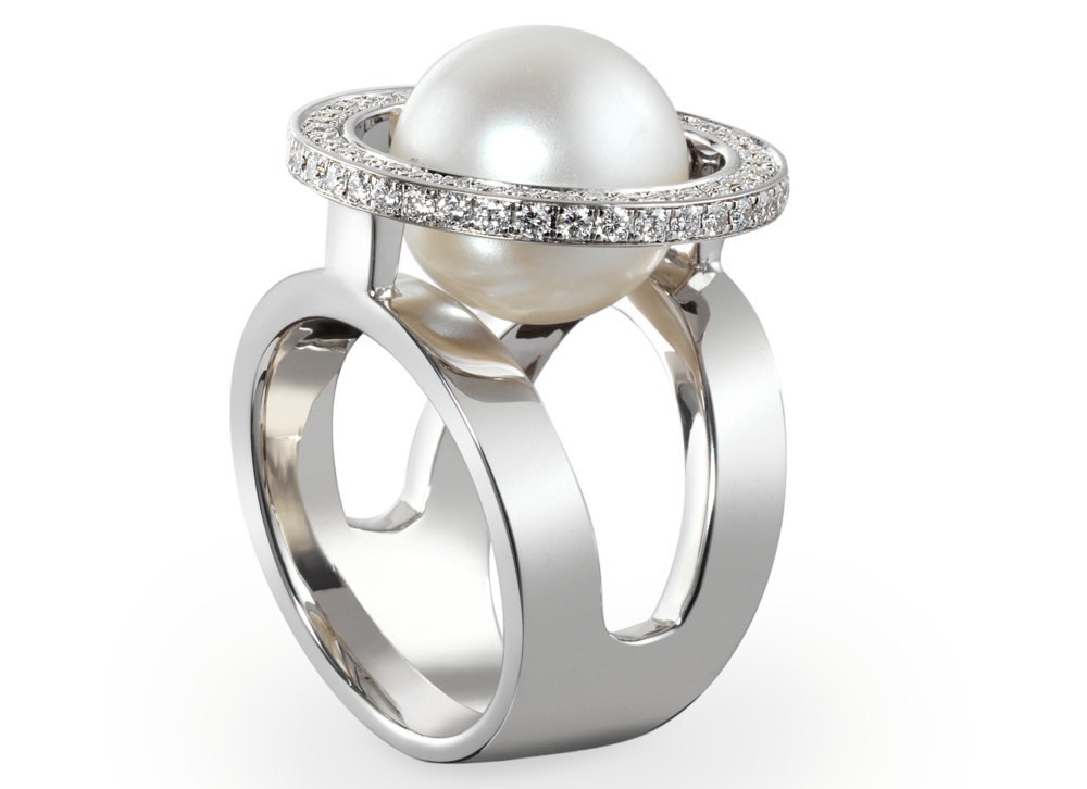 Bague Mamona - Or blanc Perle des mers du Sud 12mm et pavage diamants