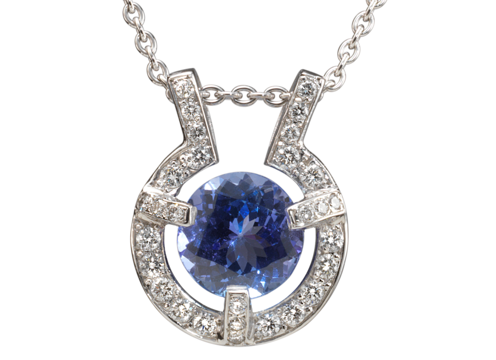 Pendentif Stéfa - Or blanc Tanzanite et pavage diamants