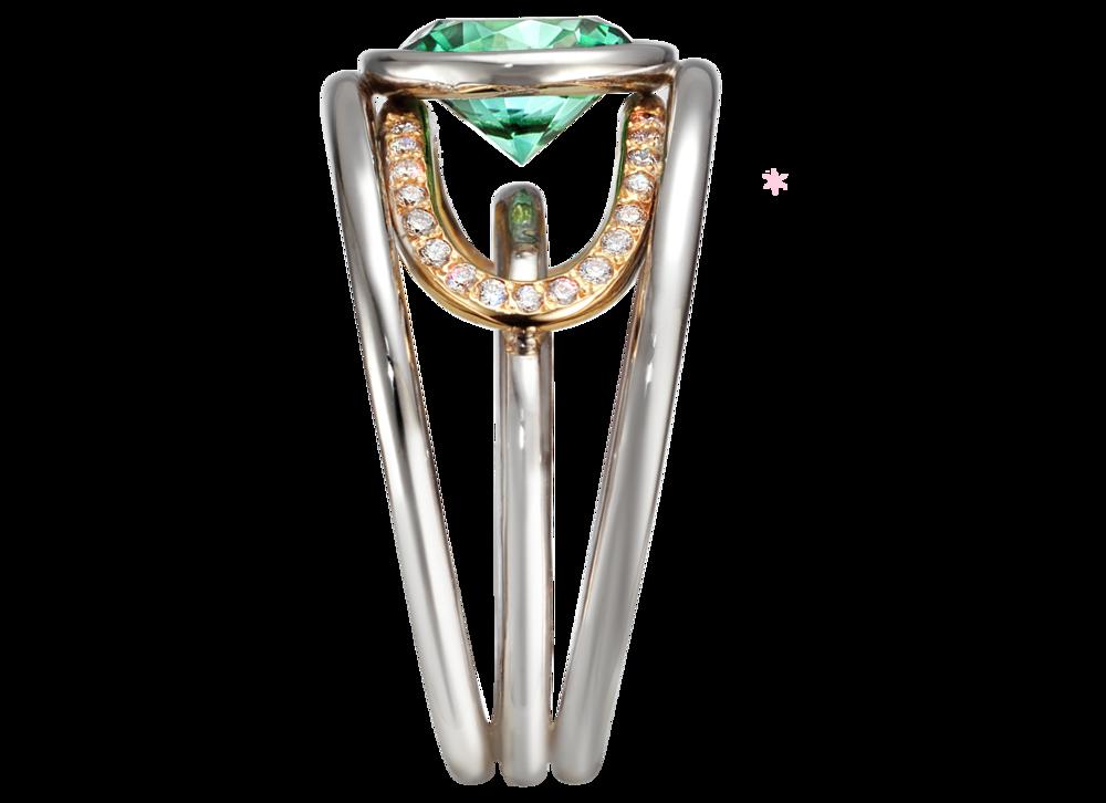 Bague Navona or blanc et rouge, Tourmaline bleue verte 1,55 carat et pavage diamants profil.png