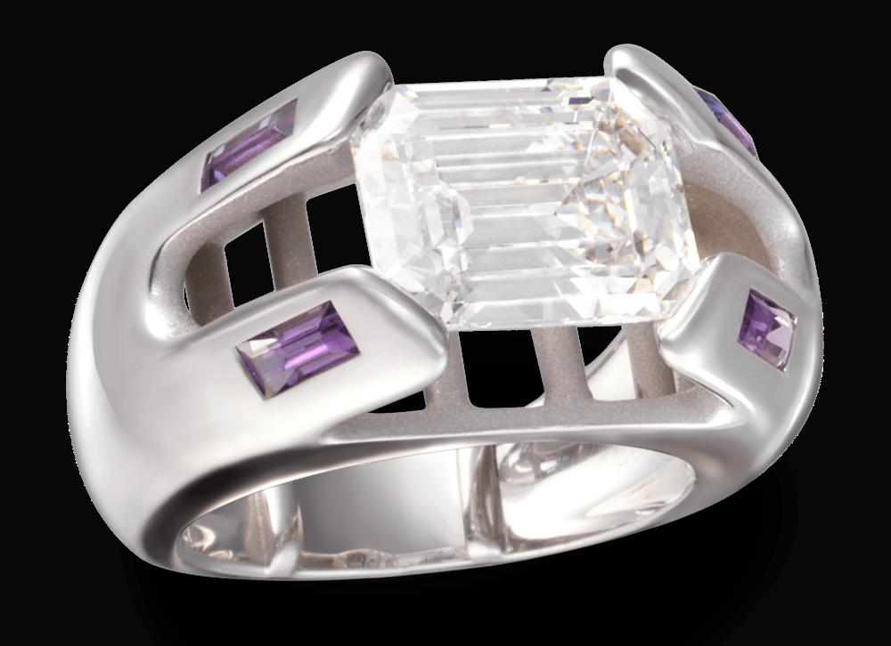 La bague Érica,première création. - Diamant taille émeraude 3.62 carats, or blanc; améthystes.