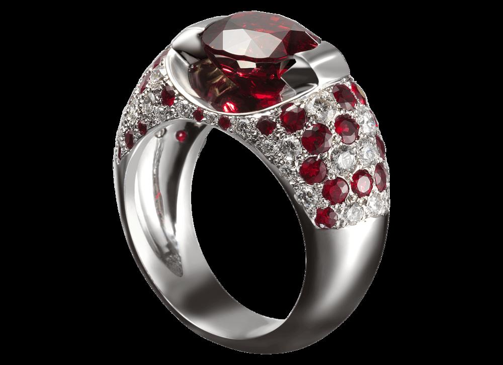 Création de la bague Éolia. - Or blanc, spinelle ovale 3,12 carats, pavage diamants 0,44 ct et rubis 1,15 ct