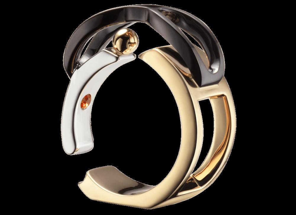 Parmi les exceptionnelles - Bague Chillida, or rose, blanc, jaune, noir et saphir orange.