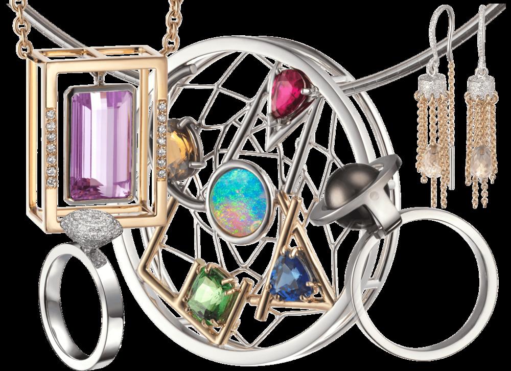2010 - 2015 - Création des pendentifs Stoa et Dreamcatcherdes boucles d'oreille Cygneet des bagues Hestia et Solal.