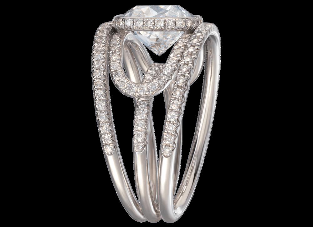 Bague Navona or blanc diamant coussin 3 carats pavage complet 3 quart.png