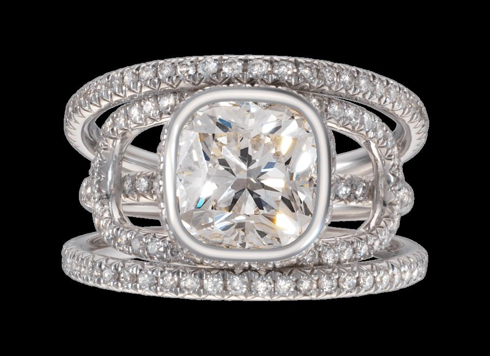 Bague Navona or blanc diamant coussin 3 carats pavage complet à plat.png