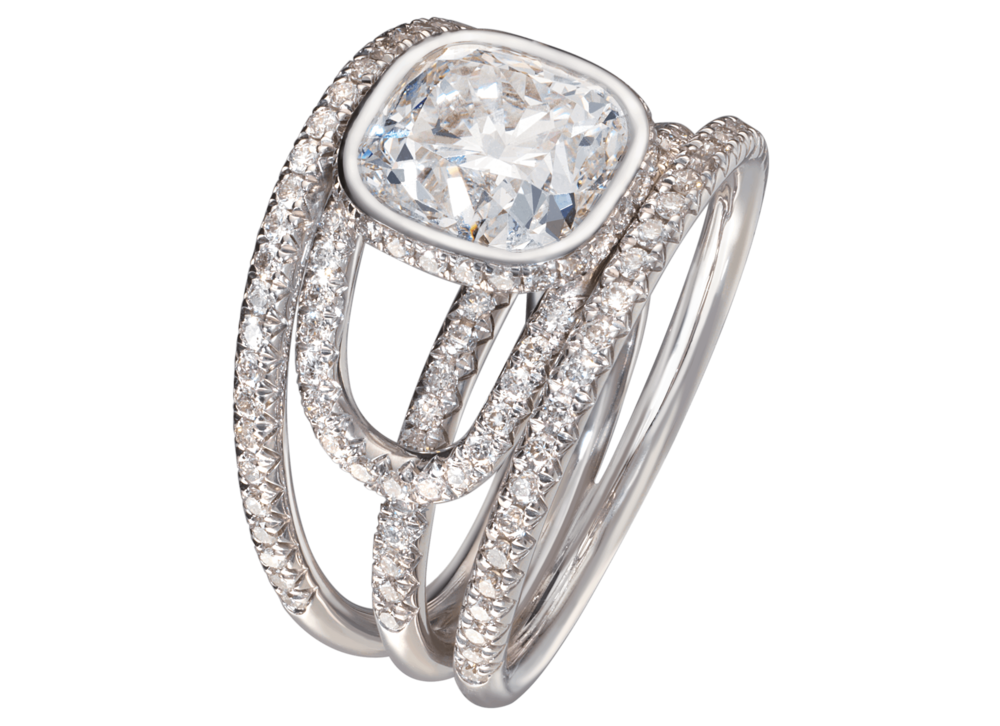 Bague Navona or blanc diamant coussin 3 carats pavage complet haut.png