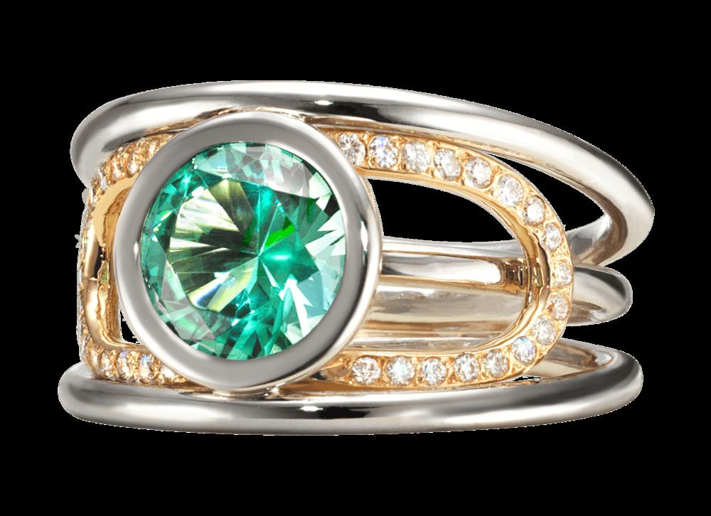 Bague Navona or blanc et rouge, Tourmaline bleue verte 1,55 carat et pavage diamants.png