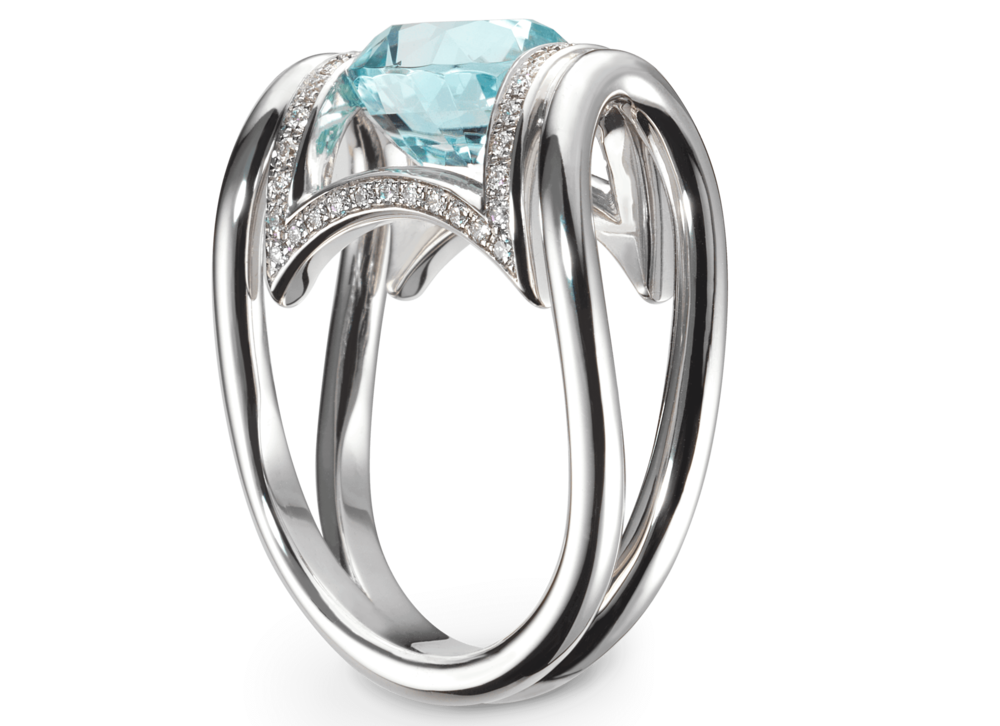 Bague Anna or blanc Toumaliine bleue 3,47 carats et pavage 50 diamants 0.24 ct