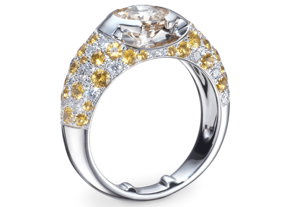 Bague Eolia or blanc Saphir jaune naturel 1,59 carat et pavage de diamants et saphirs jaune
