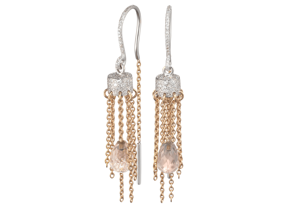 Boucles d'oreille Cygne or blanc et rouge pampille quartz rose et pavage diamants.png
