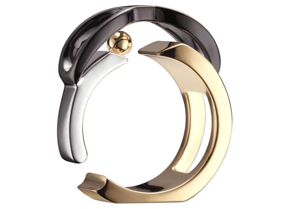 Bague Chillida or rose blanc jaune noir saphir orange 3quart boule.png