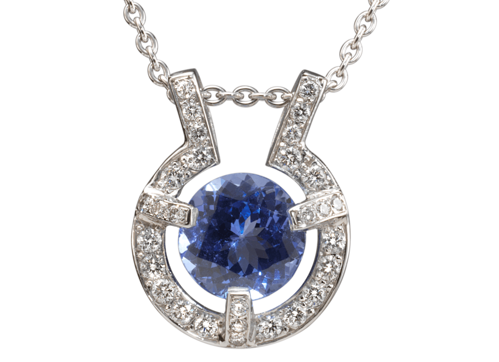 Pendentif Stéfa or blanc Tanzanite et pavage diamants.png