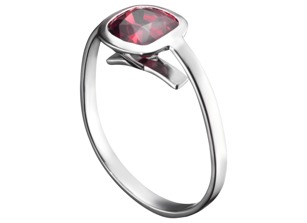 Bague Cha - Or blanc et Spinelle rouge coussin 1,71 carat