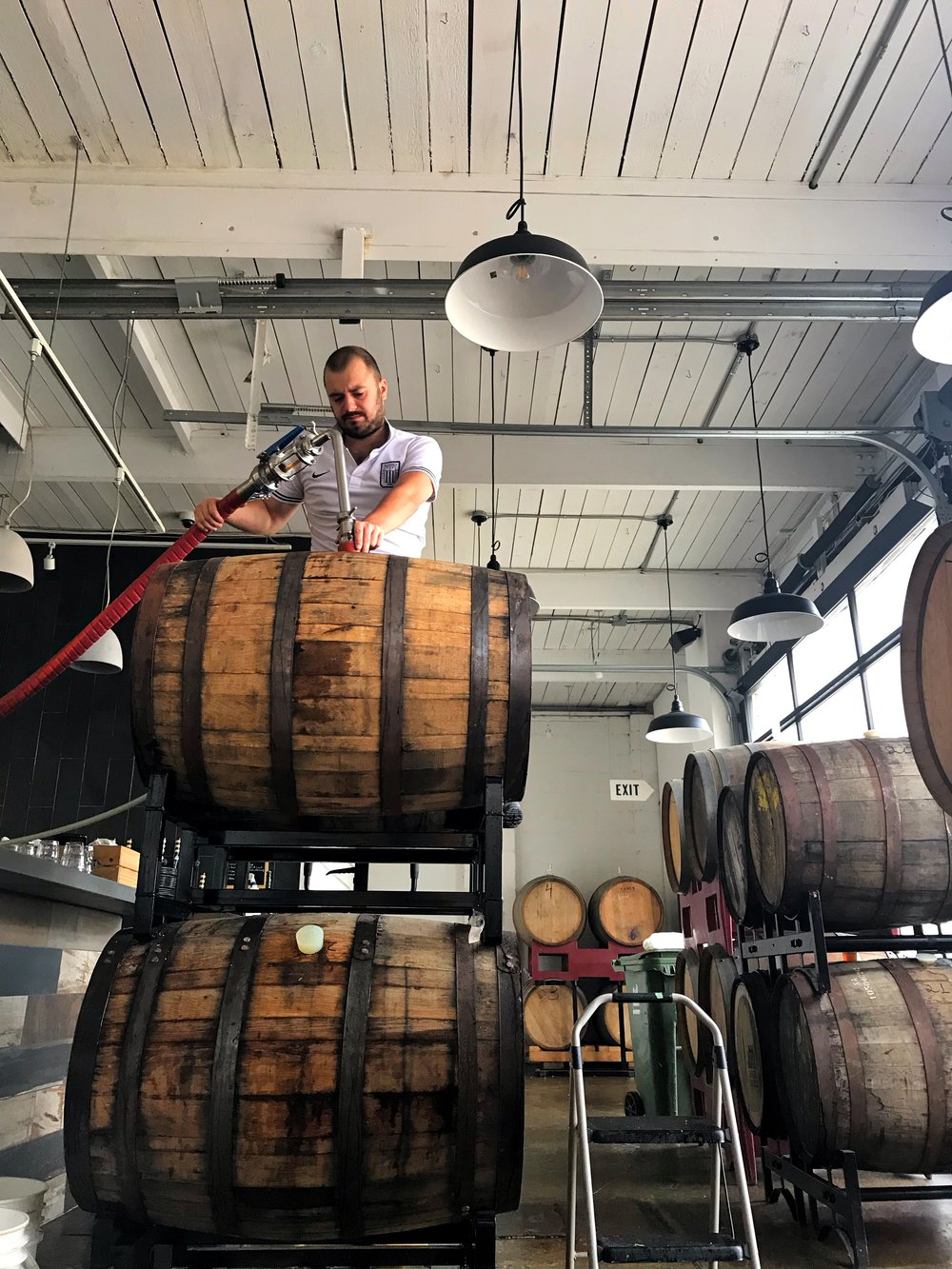 Bandit brewer, Benoit, during our Hibernator 2018 blending process.