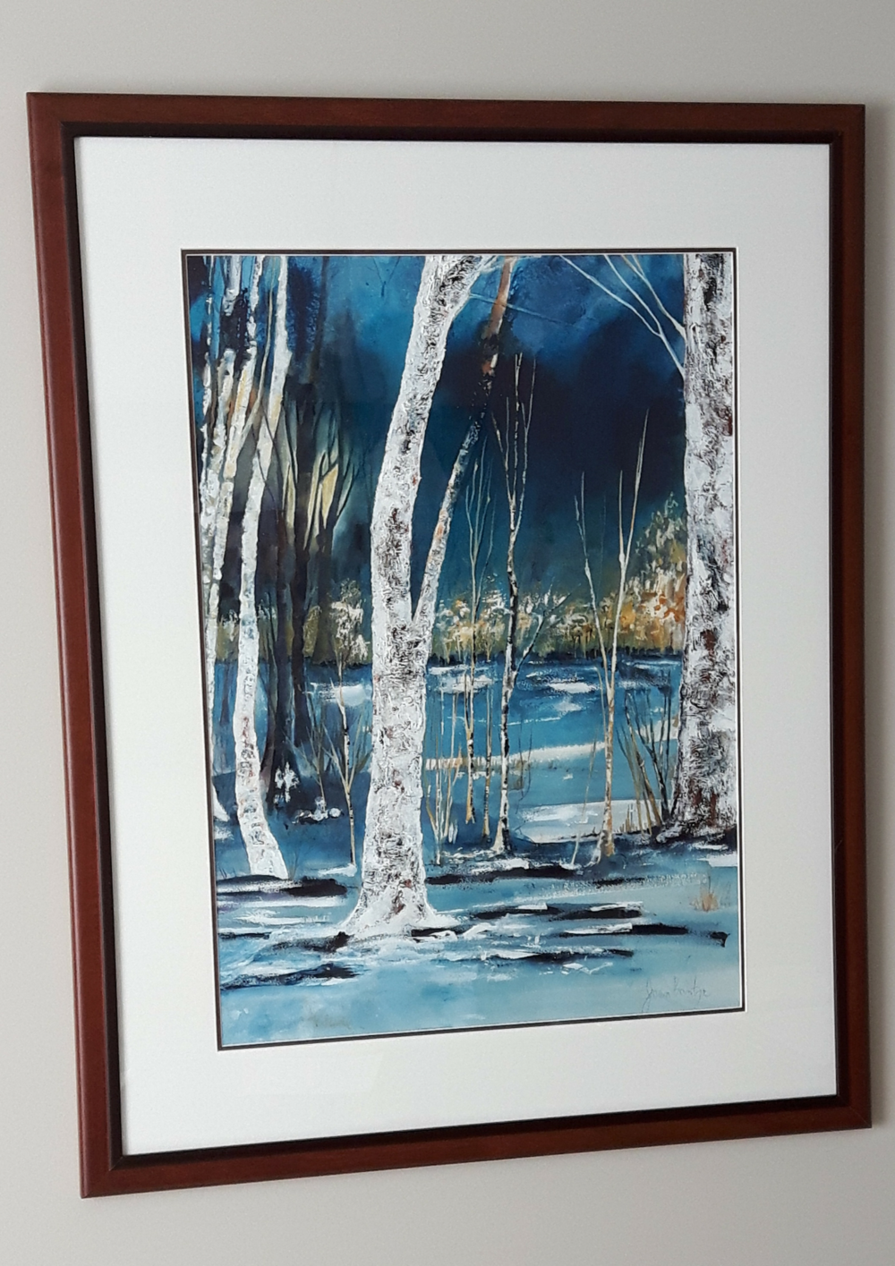 """BIRCH TREES:  Watercolour & Acrylic & Poured Ink. Framed 31""""x 38"""""""