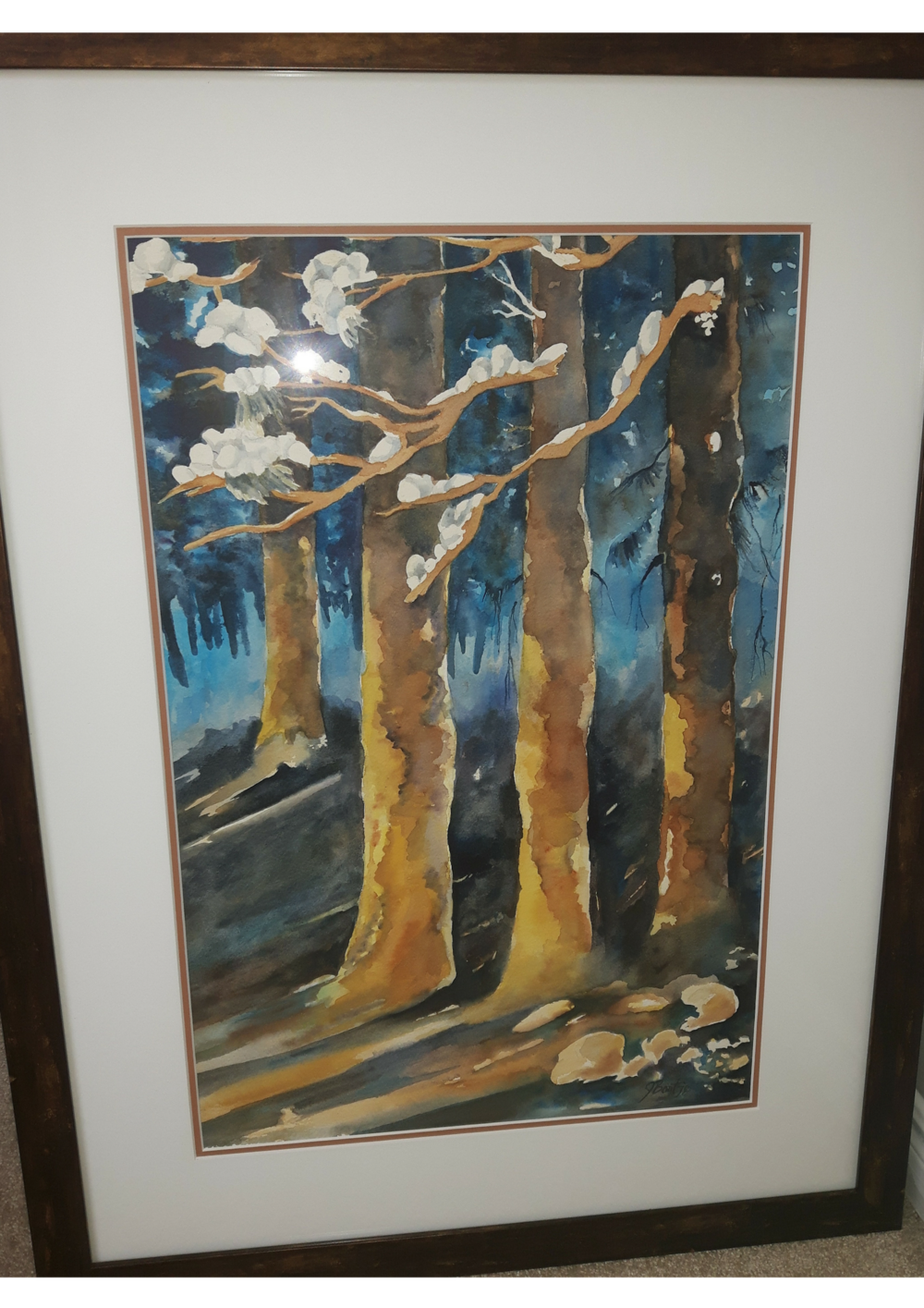 "NARROW DAYLIGHT:  Watercolour & Acrylic. Framed. 23""x 30"""