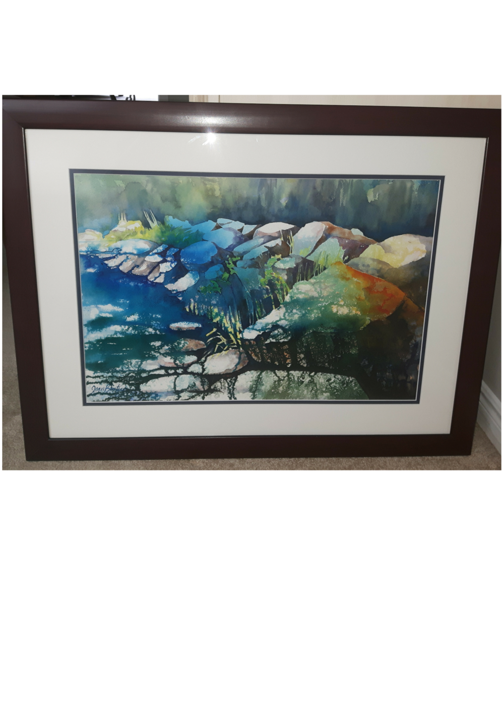 """NATURE'S BEST:  Watercolour & Poured Ink. Framed. 29""""x 22"""""""