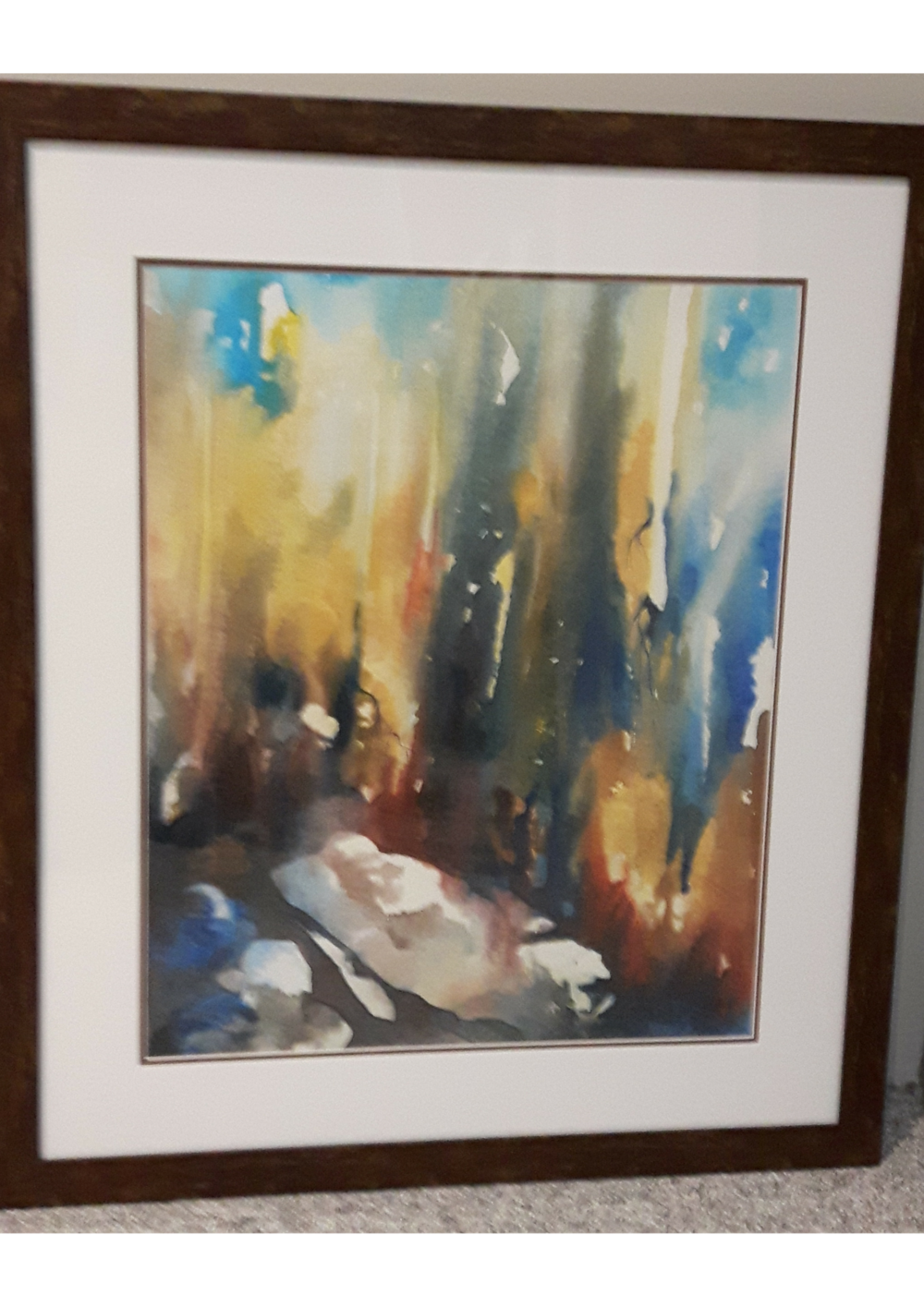 """CREATIVE OUT POUR:  Watercolour & Ink. Framed. 29"""" x 24"""""""