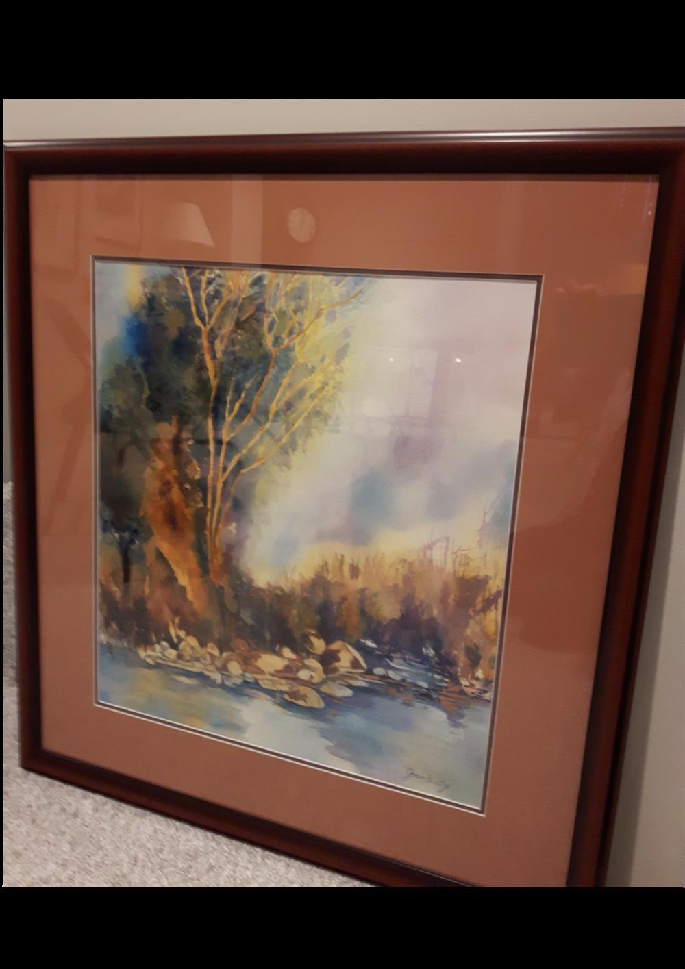 """STILLNESS:  Watercolour. Framed. 32""""x 35"""""""