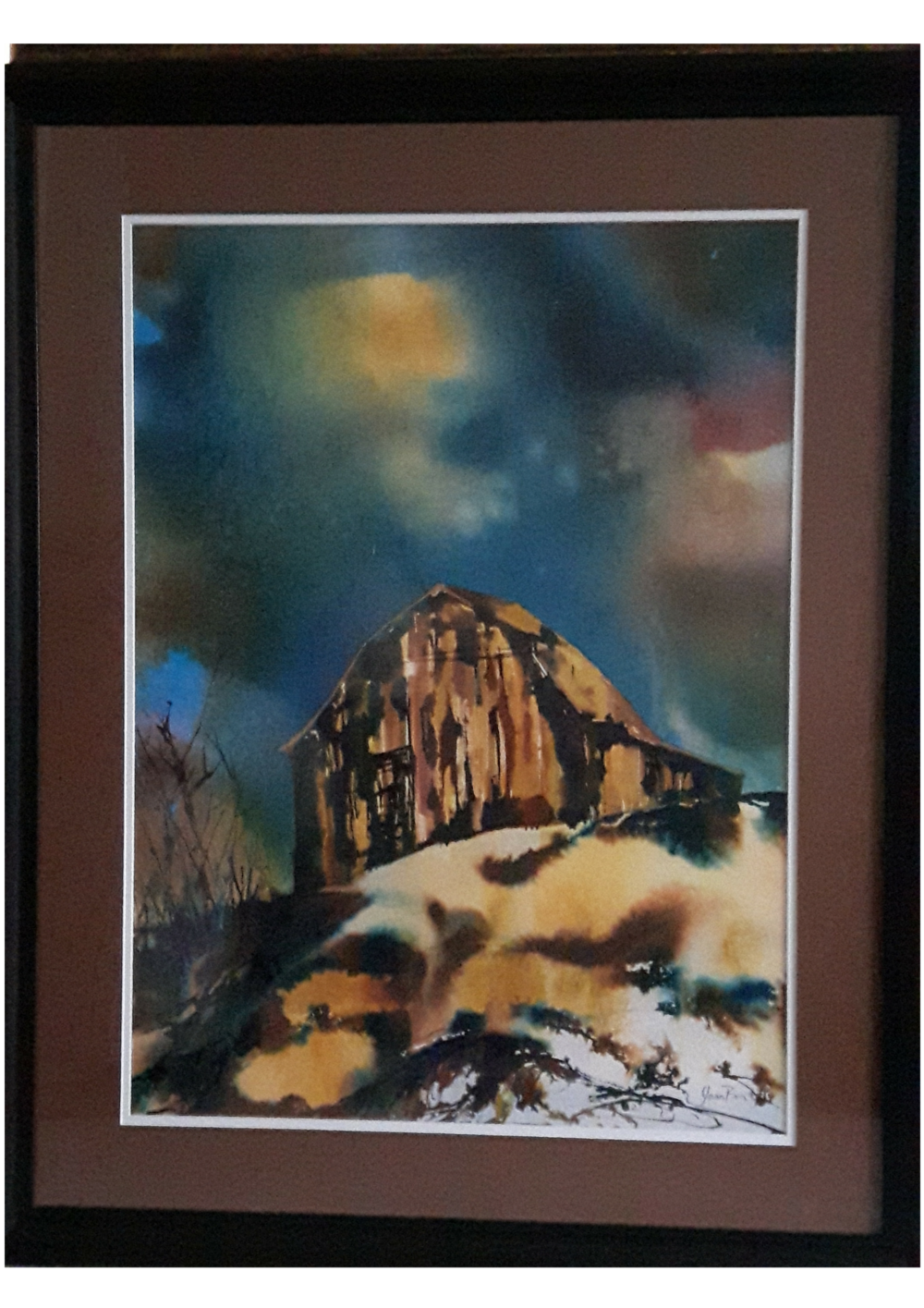 "SHELTER:  Poured Acrylic Ink . Framed. 39""x 30"""