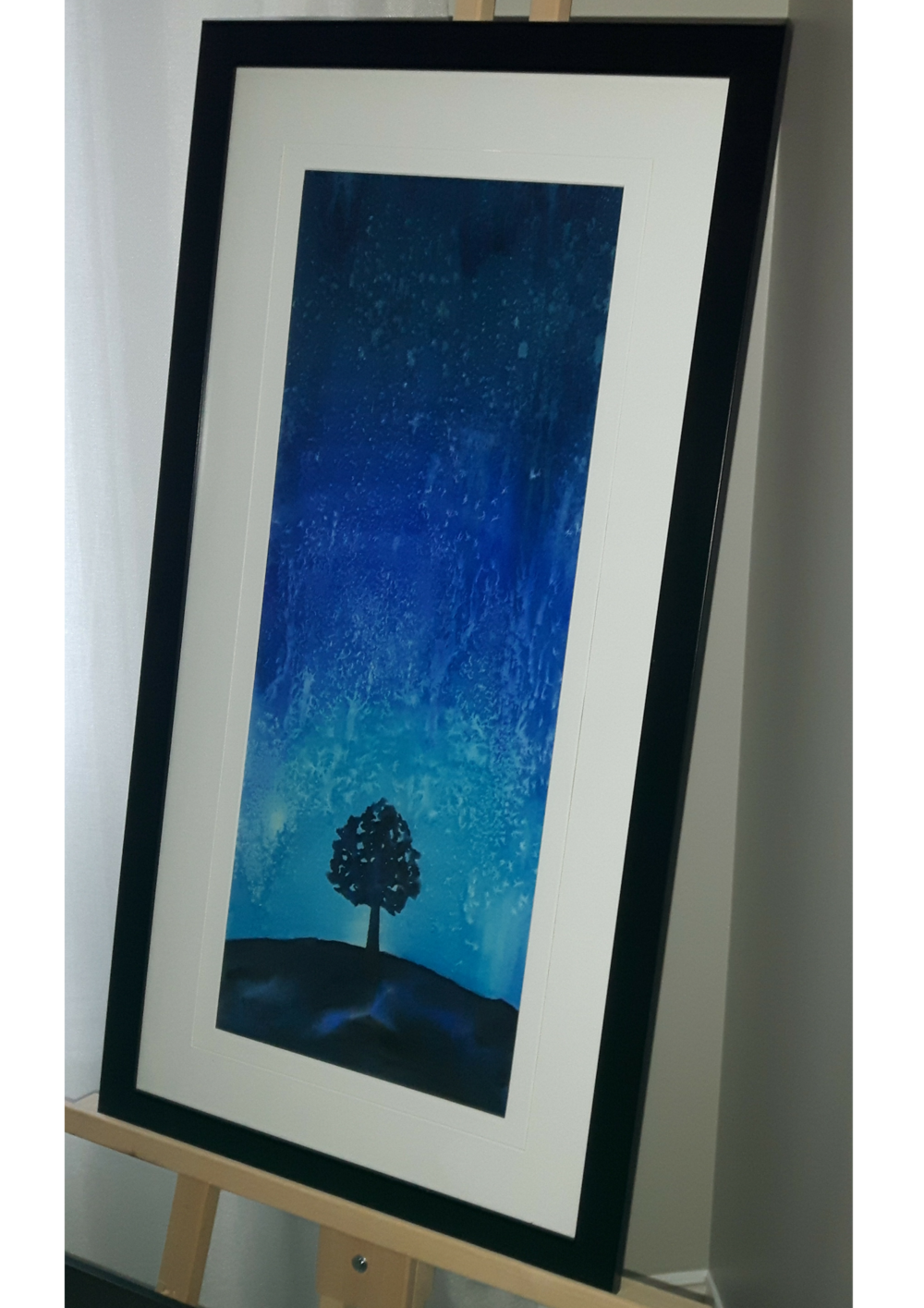 """LET IT RAIN:  Watercolour. Framed. 18""""x 35"""""""