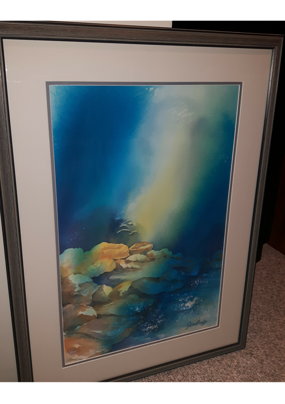 """SHINE:  Watercolour & Poured INk. Framed. 22""""x 30"""""""