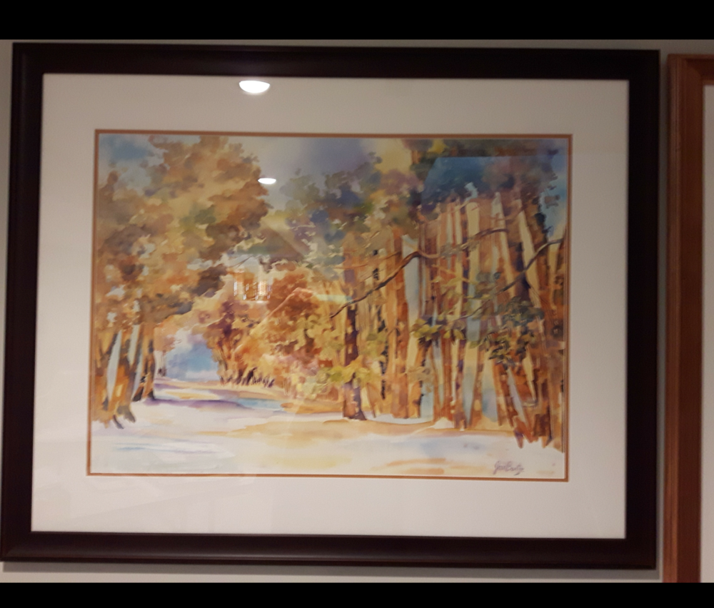 """BEYOND THE TREES:  Watercolour. Framed. 31""""x 38"""""""