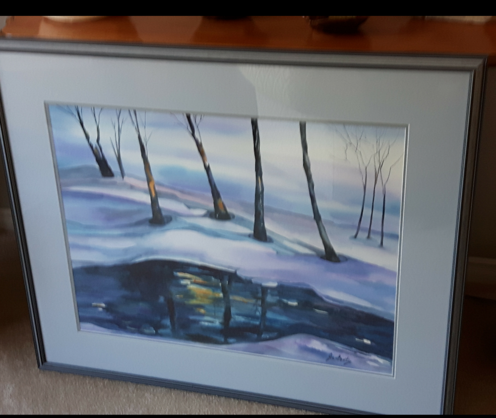 """REFLECTIONS:  Watercolour. Framed. 37""""x 32"""""""