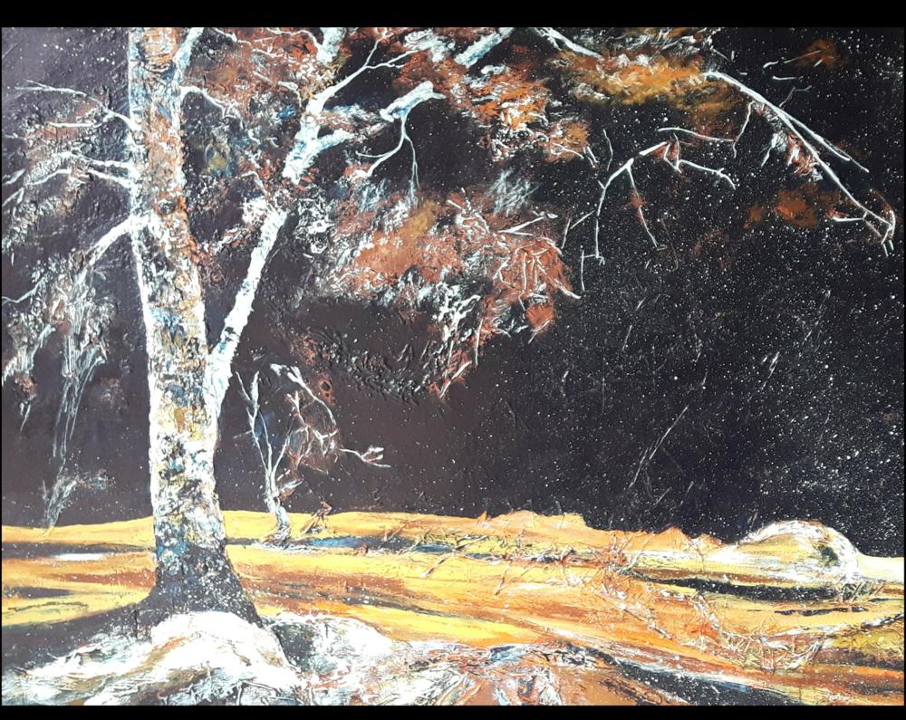 "ICED IN:  Textured Acrylic. On Studio Canvas. 30""x 24"""