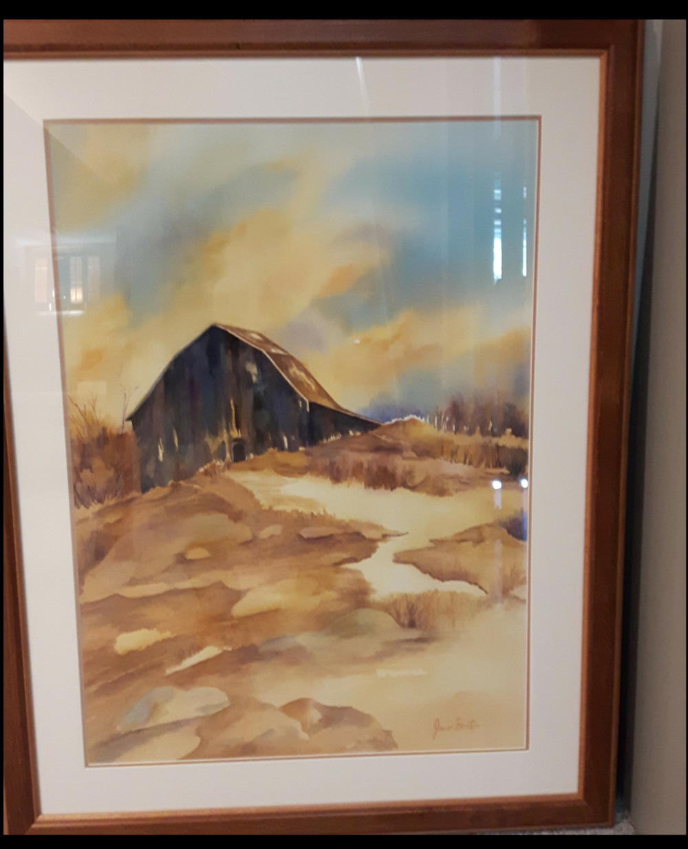 """LIGHT IS SHINING:  Watercolour & Poured Ink. Framed. 38""""x 28"""""""