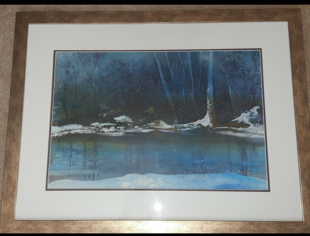 "WINTER BLUES:  Poured Ink. Framed. 23""x 29"""