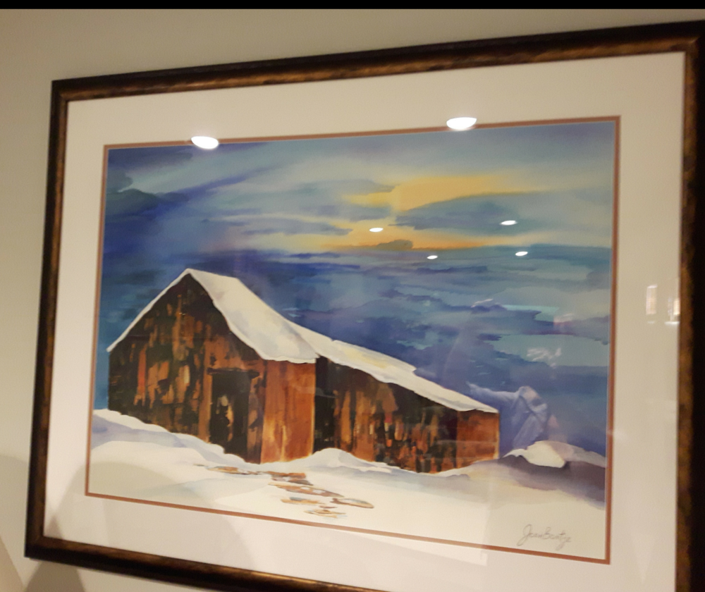 """THE CABIN:  Watercolour. Framed. 38""""x 28"""""""