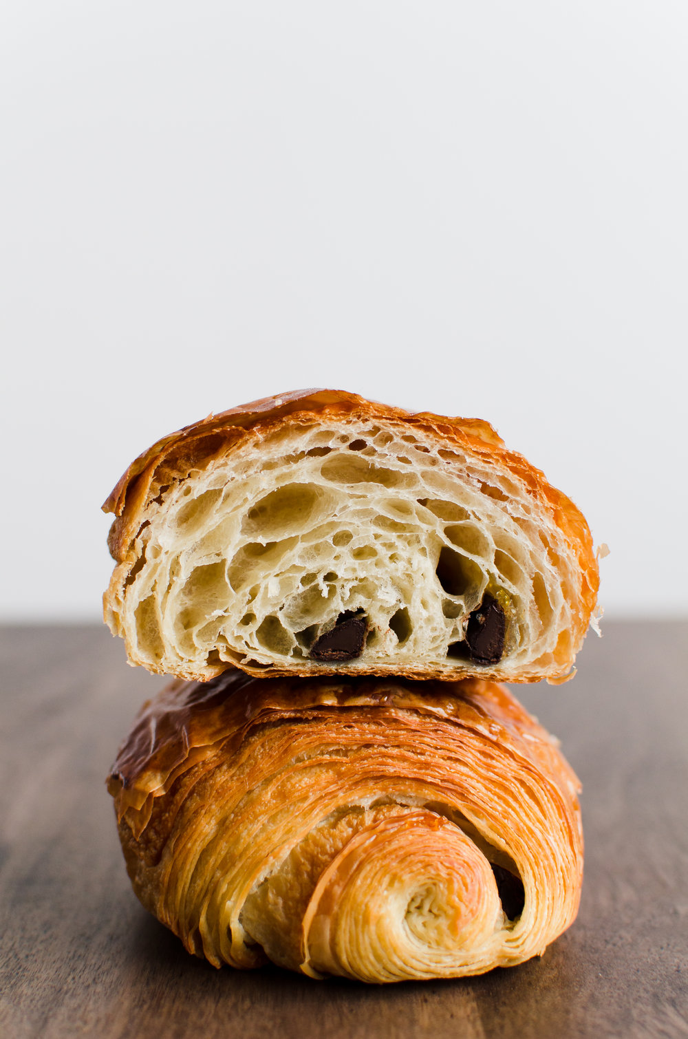 Chocolate Croissant   French Flour, Japanese Flour, Egg, Isigny Butter, Dark Chocolate, Yuzu Zest