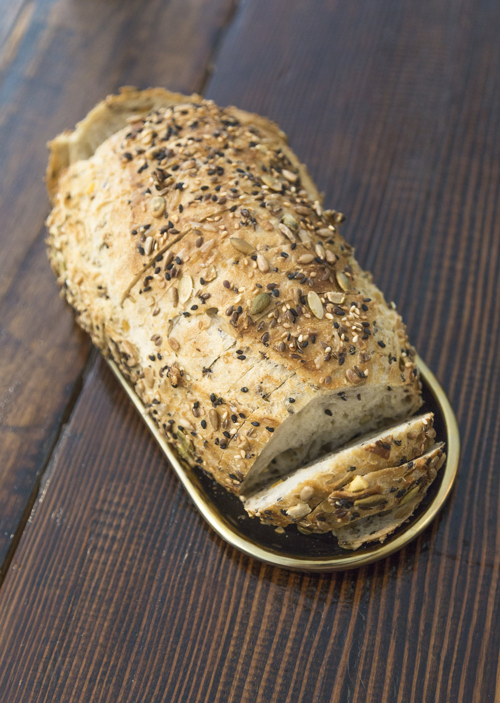 Seven-Grain   French Flour, Almond, Orange Peel, Pumpkin Seed, Sunflower Seed, Flaxseed, Sesame