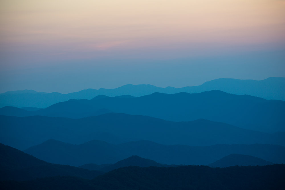 Sunset over the Appalachian Mountains along the Blue Ridge Highway