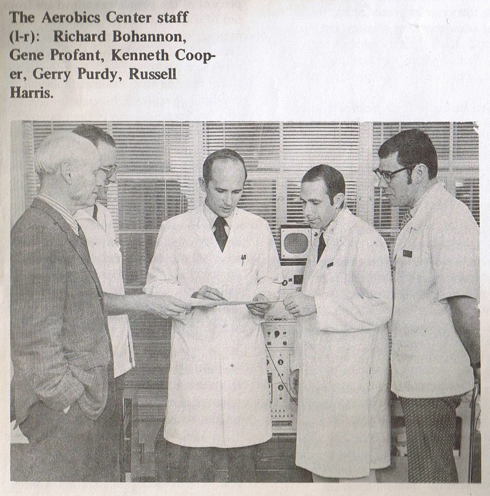 AEROBICS CENTER STAFF - 1971 - PREVENTIVE HEALTH - THE EARLY YEARSMy entire life I have been surrounded by world-renowned health care professionals. My father left the YMCA to serve as the Executive Director of the Cooper Aerobics Center in Dallas. Russell Harris (dad - pictured at right) was Dr. Kenneth Cooper's first hire. We are all grateful to these pioneers creating an industry of preventive medicine.