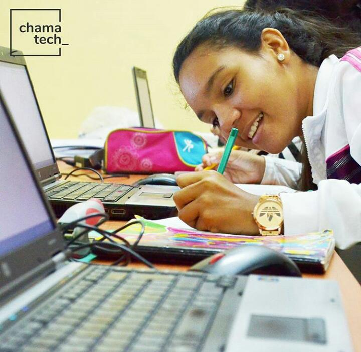 Chamatech hosts more than 20 girls who meet once a week to improve their computer skills with the help of professionals (Photo Credits: Chamatech)