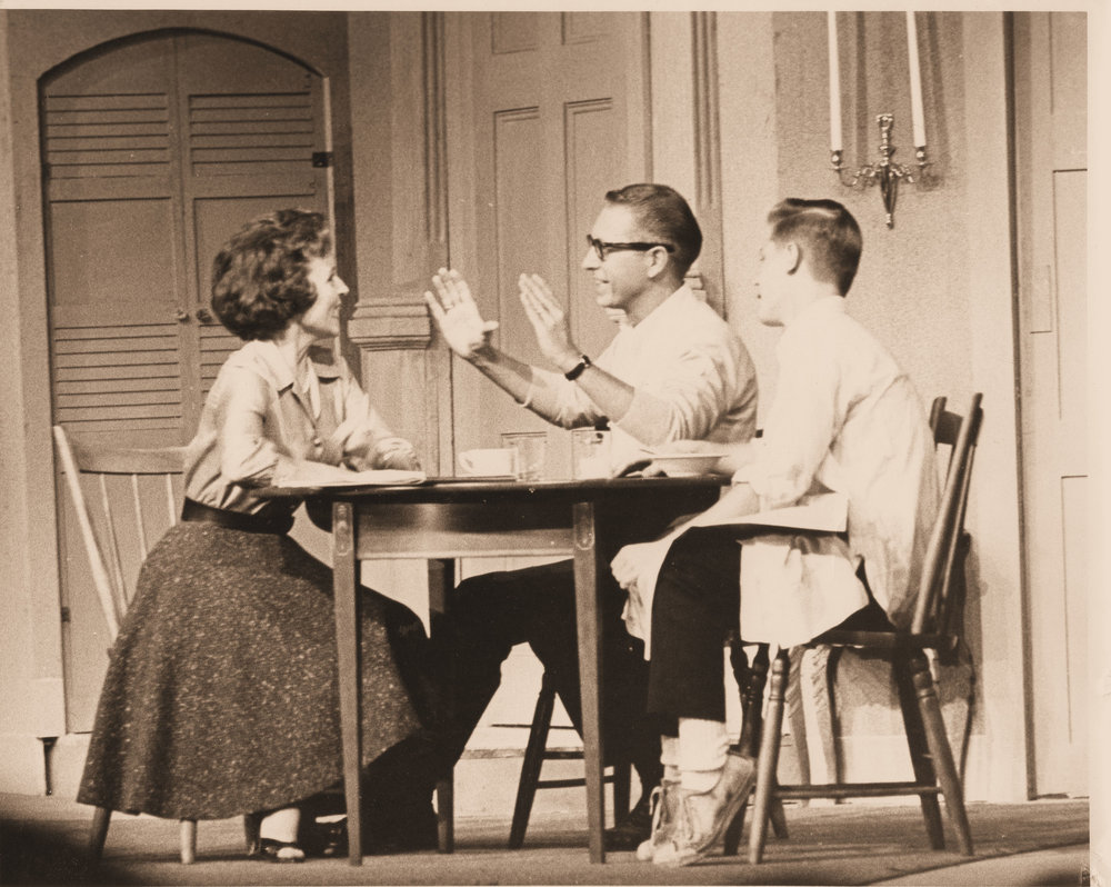 "Left to Right: Betty White, Allen Ludden & David Ludden At Lakewood Theater in ""Critic's Choice"" 1962"