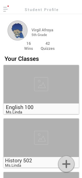 - Student Profile. To the right of the profile you can view the students name and the grade he is in. I included the student's current grade to make the profile a bit more personal without giving away much information,– directly under that information you can see the amount of wins the student has