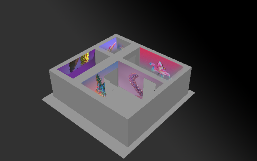 Experimenting with placing projections on walls.