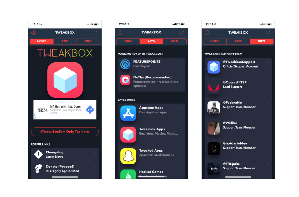 The main navigation app navigation. 'Home, Apps and Info'