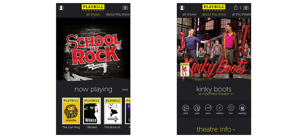 2 Takeaway Screenshots, from Playbill's mobile app