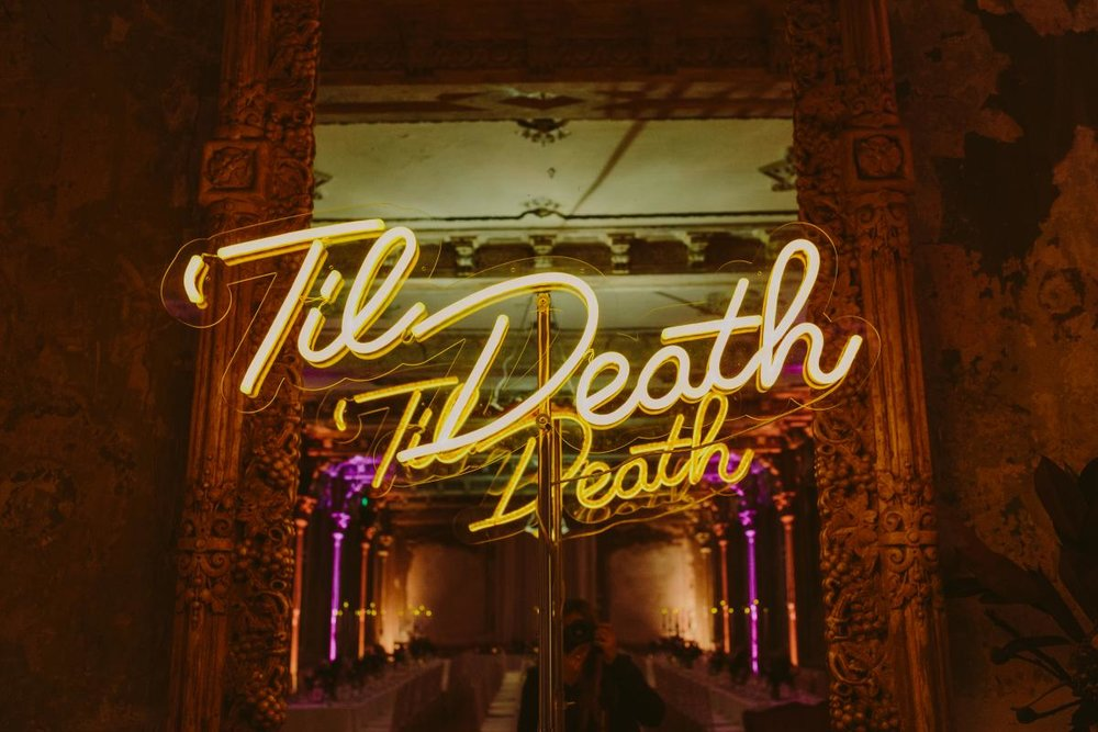 Neon Lighting Display for Wedding - 'Til Death' - Wedding Venue Melbourne The George Ballroom.