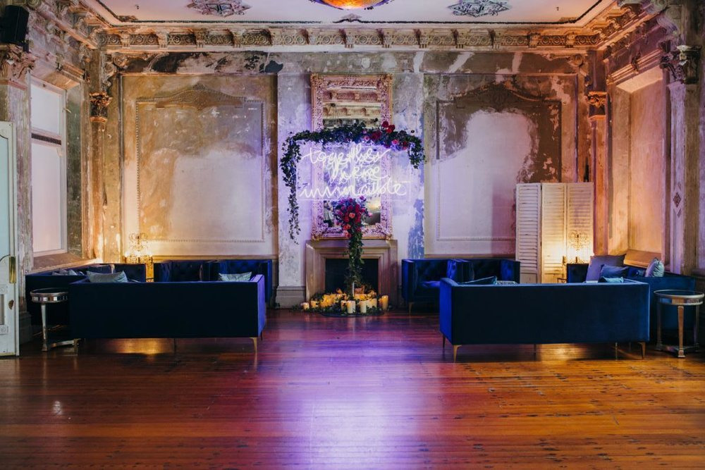 Neon wedding lighting display at wedding venues melbourne The George Ballroom.