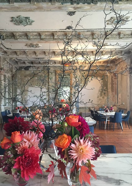 Floral arrangement at the George Ballroom, St Kilda.