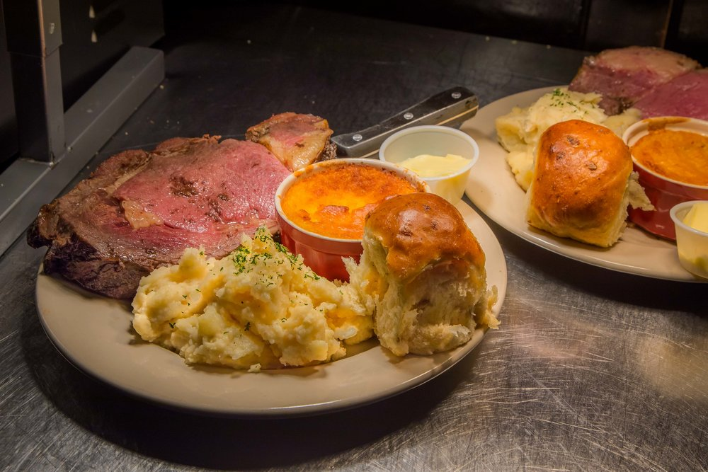 Prime Rib, Corn Souffle, Mashed Potatoes and a Dinner Roll
